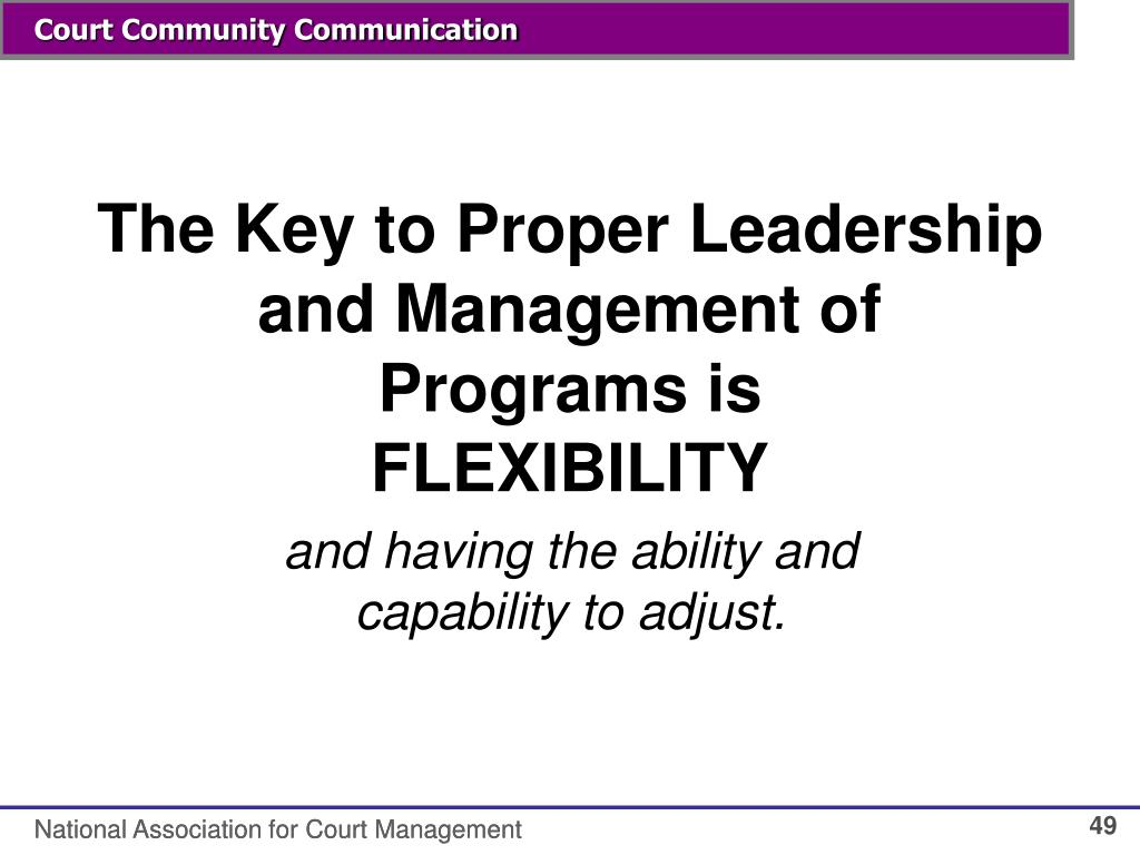 The Key to Proper Leadership and Management of Programs is
