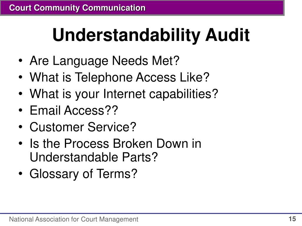 Understandability Audit