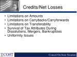 credits net losses