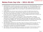 notes from jay lile 2011 02 03