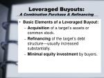 leveraged buyouts a combination purchase refinancing
