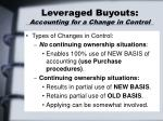 leveraged buyouts accounting for a change in control