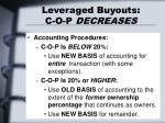 leveraged buyouts c o p decreases