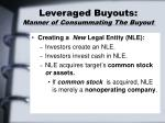 leveraged buyouts manner of consummating the buyout