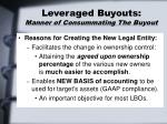 leveraged buyouts manner of consummating the buyout21