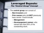 leveraged buyouts the control group concept