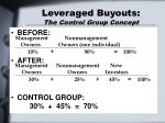 leveraged buyouts the control group concept19