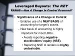 leveraged buyouts the key issue has a change in control occurred