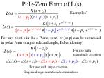 pole zero form of l s