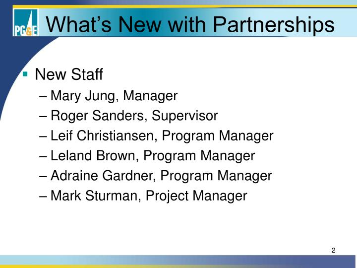 What s new with partnerships