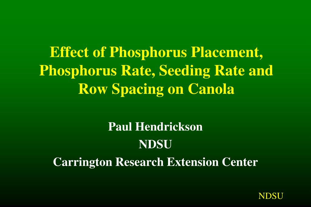 effect of phosphorus placement phosphorus rate seeding rate and row spacing on canola l.