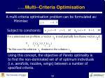multi criteria optimisation