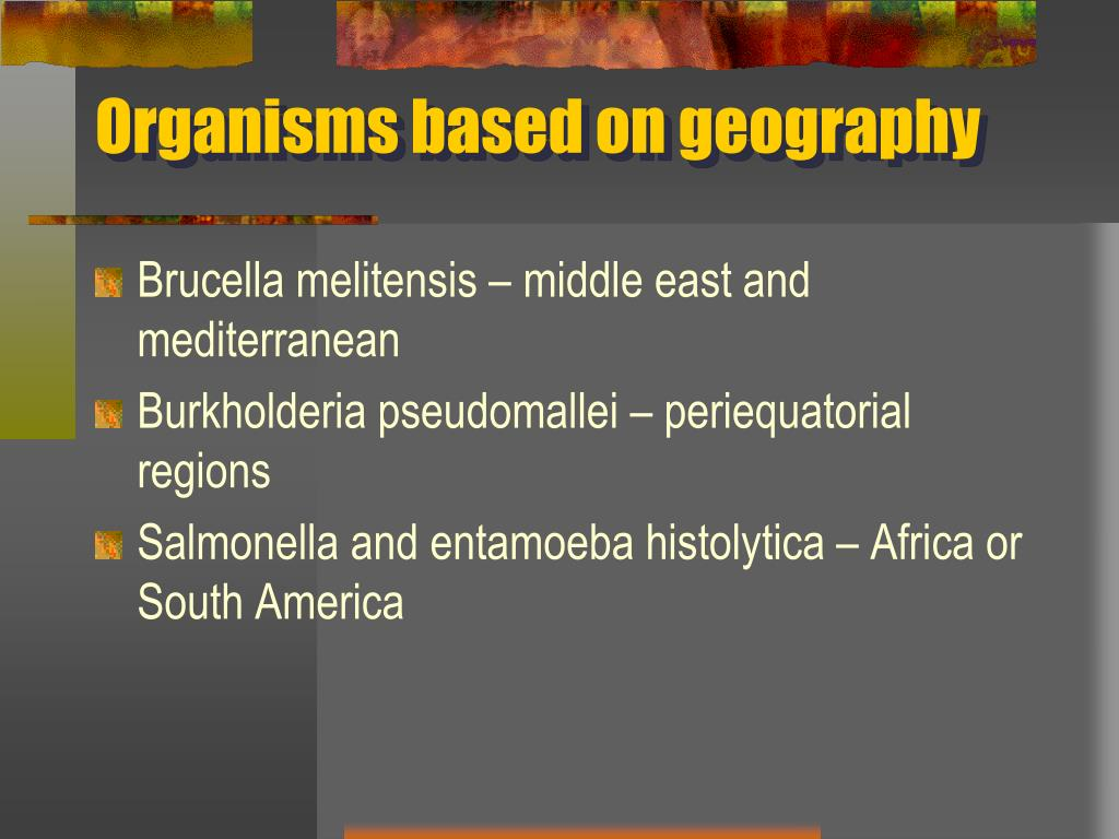 Organisms based on geography