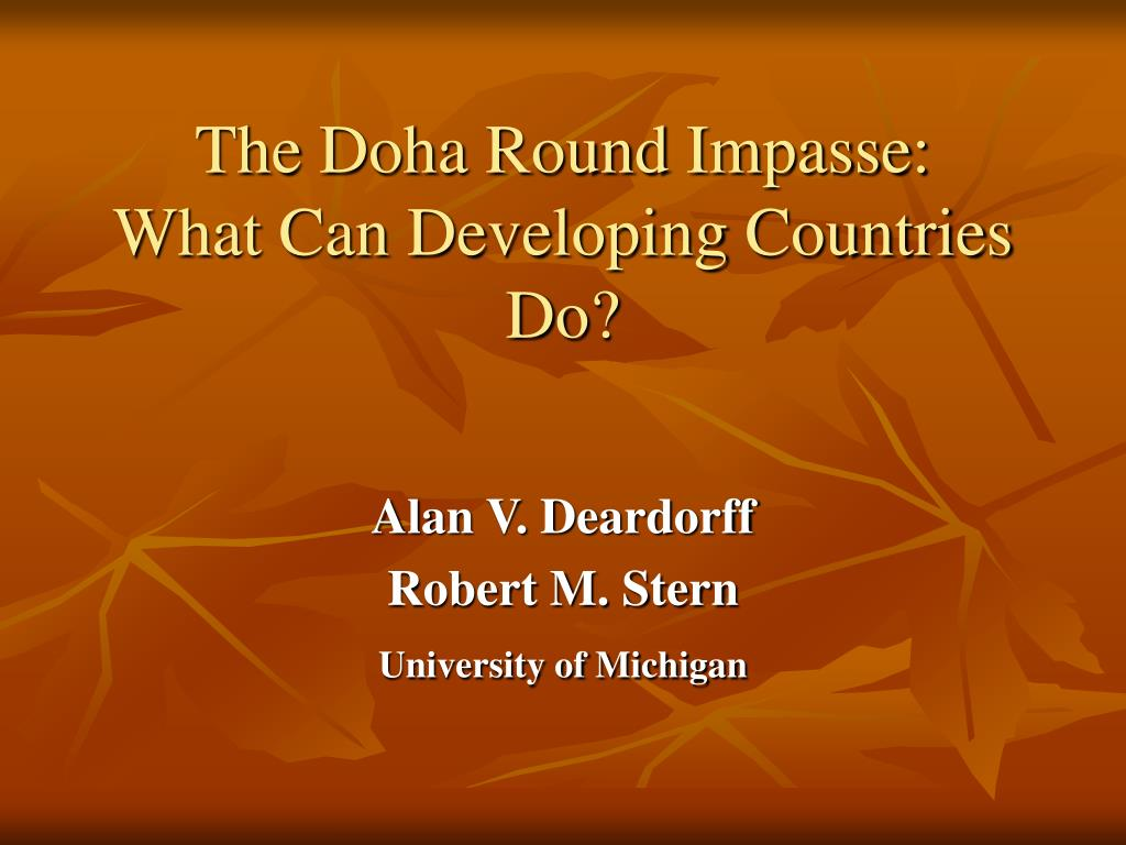 the doha round impasse what can developing countries do l.