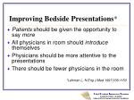 improving bedside presentations