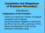 complaints and allegations of employee misconduct