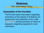 statutes for information only
