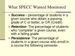 what specc wanted monitored