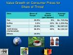 value growth on consumer prices for share of throat
