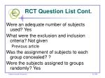 rct question list cont