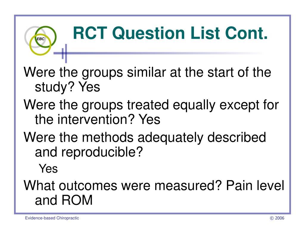 RCT Question List Cont.