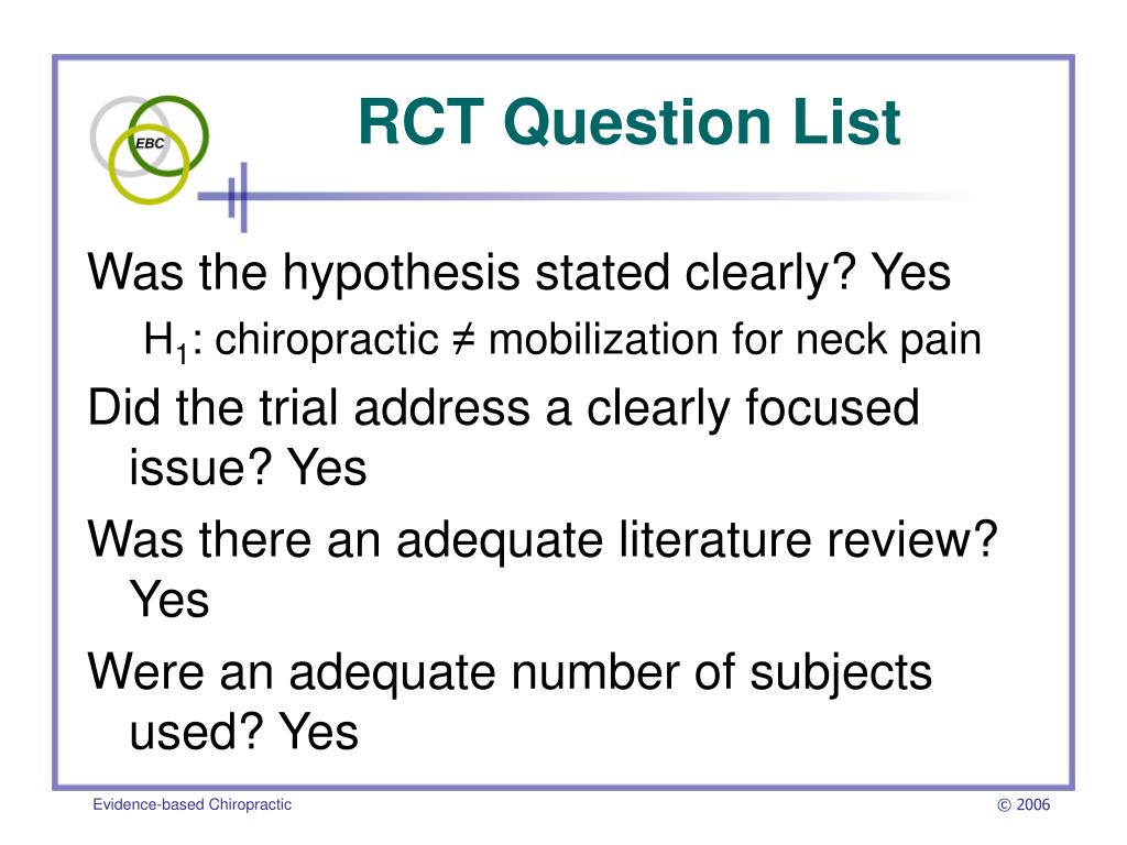 RCT Question List