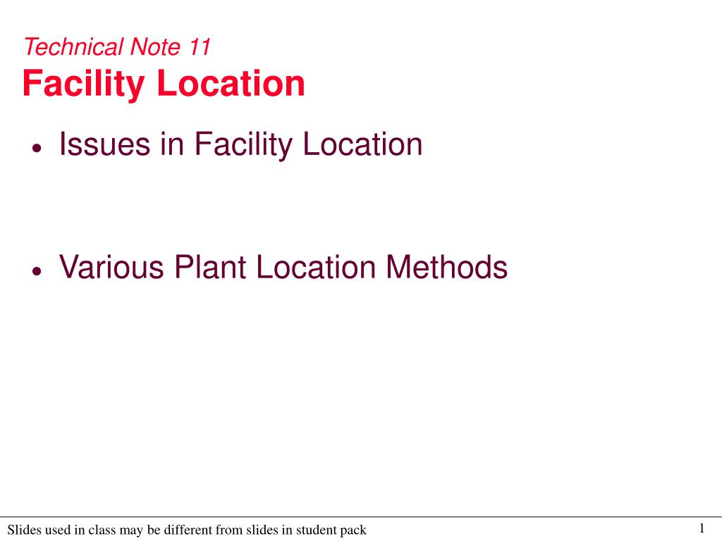technical note 11 facility location l.