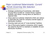 major locational determinants current trends governing site selection