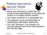modeling approaches heuristic models