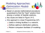 modeling approaches optimization models
