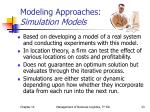 modeling approaches simulation models