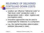 relevance of delivered costs laid down costs