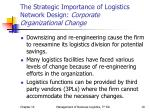 the strategic importance of logistics network design corporate organizational change