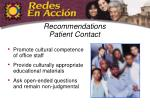 recommendations patient contact