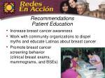 recommendations patient education