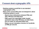 comment about cryptographic apis