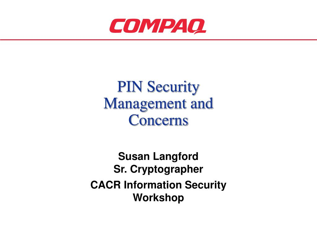 pin security management and concerns l.