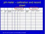 ph meter c alibration and record sheet