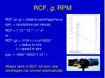 rcf g rpm