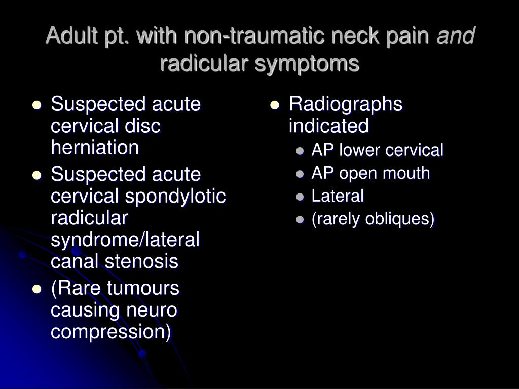 Suspected acute cervical disc herniation