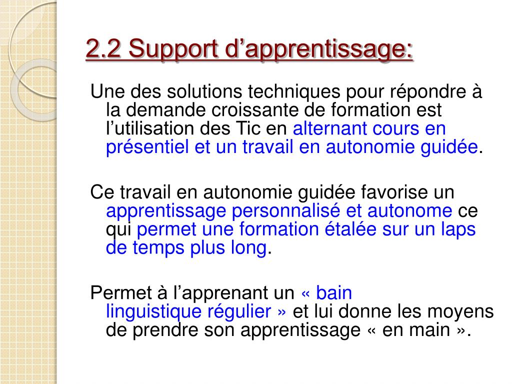 2.2 Support d'apprentissage: