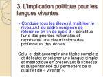 3 l implication politique pour les langues vivantes