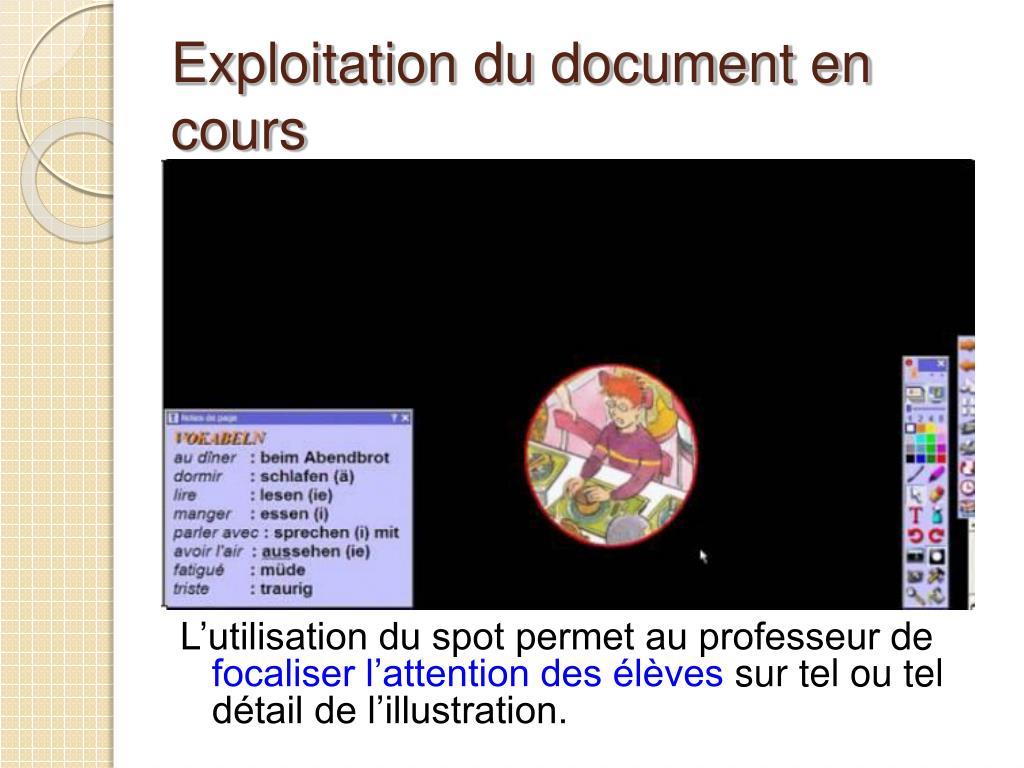 Exploitation du document en cours