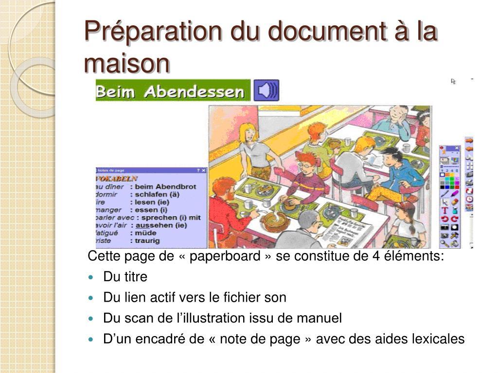 Préparation du document à la maison