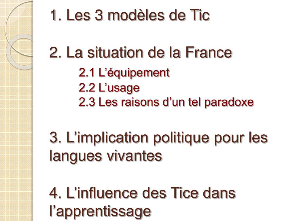 1. Les 3 modèles de Tic