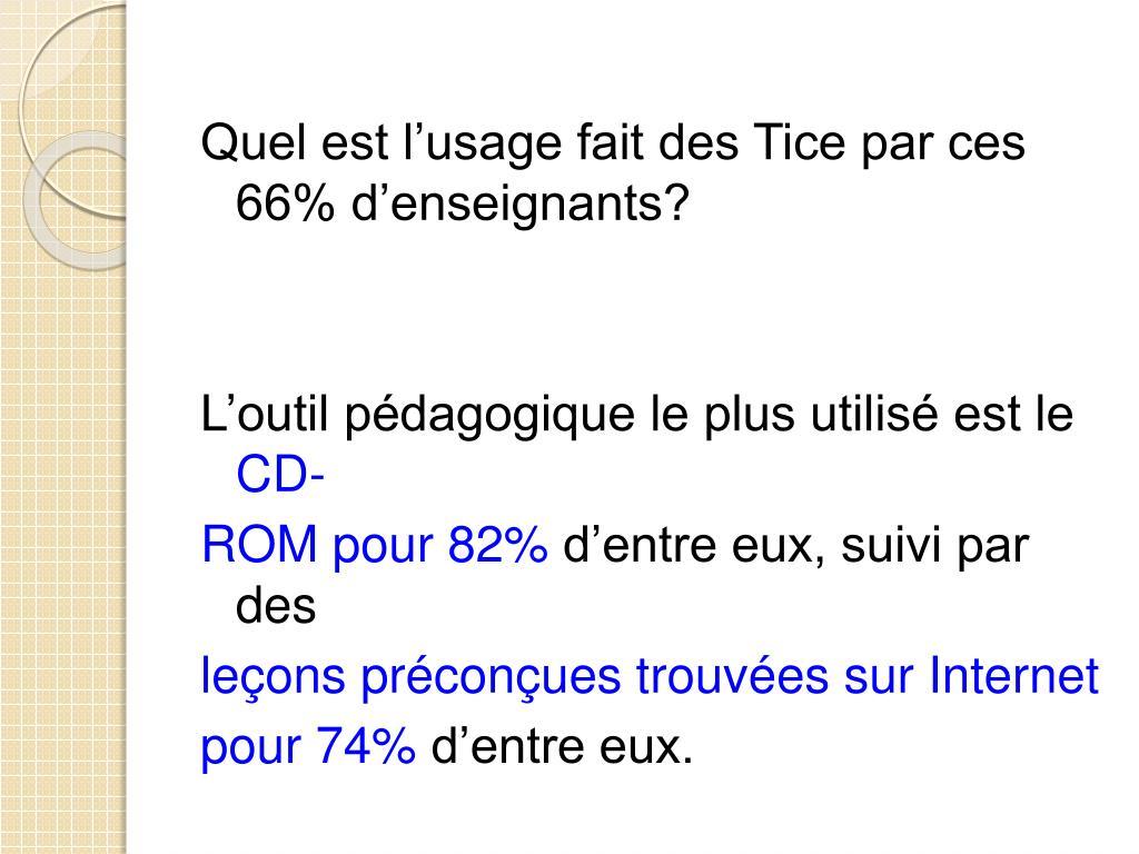 Quel est l'usage fait des Tice par ces 66% d'enseignants?