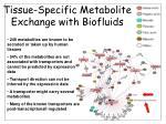tissue specific metabolite exchange with biofluids