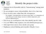identify the project risks