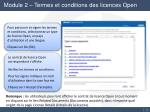 module 2 termes et conditions des licences open19