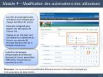 module 4 modification des autorisations des utilisateurs